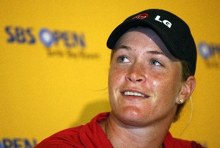 KAHUKU, HI - FEBRUARY 13:  Suzann Petternsen of Norway talks with the media at a news conference during the SBS Open on February 13, 2008  at the Turtle Bay Resort in Kahuku, Hawaii.  (Photo by Andy Lyons/Getty Images)