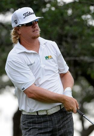 SAN ANTONIO, TX - MAY 16: Charley Hoffman tees off the 10th tee during the third round of the Valero Texas Open at the TPC San Antonio on May 16, 2010 in San Antonio, Texas. (Photo by Marc Feldman/Getty Images)