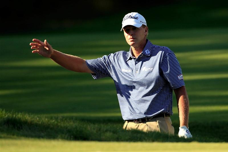 NORTON, MA - SEPTEMBER 04:  Steve Stricker reacts after he pulls out from the bunker on the 15th hole during the second round of the Deutsche Bank Championship at TPC Boston on September 4, 2010 in Norton, Massachusetts.  (Photo by Michael Cohen/Getty Images)