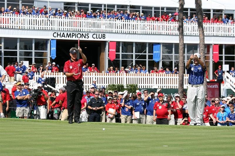 ORLANDO, FL - MARCH 16:  John Cook of the USA and Isleworth and Chris DiMarco of the USA and Lake Nona at the 18th hole during the first day of the 2009 Tavistock Cup at the Lake Nona Golf and Country Club, on March 16, 2009 in Orlando, Florida  (Photo by David Cannon/Getty Images)