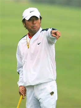 SAN DIEGO - JUNE 10:  Shingo Katayama of Japan points during the second day of previews to the 108th U.S. Open at the Torrey Pines Golf Course (South Course) on June 10, 2008 in San Diego, California.  (Photo by Scott Halleran/Getty Images)
