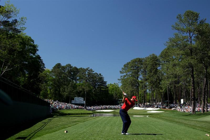 AUGUSTA, GA - APRIL 07:   Sergio Garcia of Spain hits his tee shot on the 16th hole during the first round of the 2011 Masters Tournament at Augusta National Golf Club on April 7, 2011 in Augusta, Georgia.  (Photo by Andrew Redington/Getty Images)
