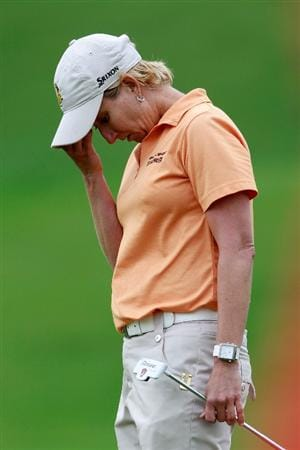 GLADSTONE, NJ - MAY 20: Karrie Webb of Australia reacts after missing a putt on the 14th hole during round two of the Sybase Match Play Championship at Hamilton Farm Golf Club on May 20, 2011 in Gladstone, New Jersey. (Photo by Chris Trotman/Getty Images)