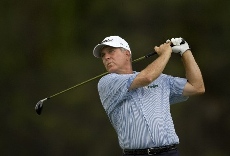 SUNRIVER, OR - AUGUST 17: Jay Haas hits his tee shot at the par-5 16th hole, during the fourth round of the Champions Tour JELD-WEN Tradition at the Crosswater Club on August 17, 2008 in Sunriver, Oregon. (Photo by Steven Gibbons/Getty Images)