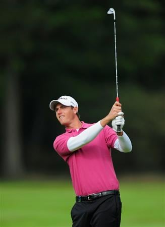 HILVERSUM, NETHERLANDS - SEPTEMBER 09:  Nicolas Colsaerts of Belgium plays his approach shot on the 16th hole during the first round of  The KLM Open Golf at The Hillversumsche Golf Club on September 9, 2010 in Hilversum, Netherlands  (Photo by Stuart Franklin/Getty Images)