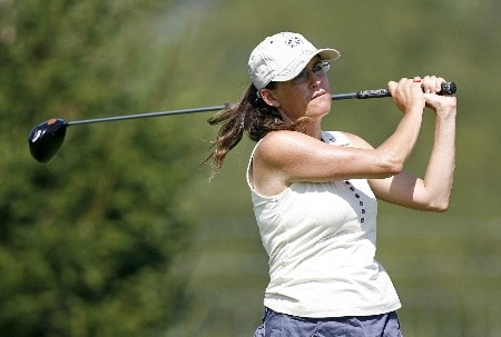 SPRINGFIELD, IL - AUGUST 30:   Heather Daly-Donofrio hits her tee shot on the 3rd hole during the first round of the State Farm Classic at Panther Creek Country Club on August 30, 2007 in Springfield, Illinois. (Photo by Hunter Martin/Getty Images)