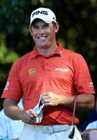 AUGUSTA, GA - APRIL 06:  Lee Westwood of England smiles during the Par 3 Contest prior to the 2011 Masters Tournament at Augusta National Golf Club on April 6, 2011 in Augusta, Georgia.  (Photo by David Cannon/Getty Images)