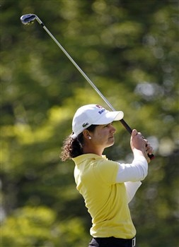 ROCHESTER, NY - JUNE 19: Lorena Ochoa of Mexico hits her tee shot on the 5th hole during the first round of the Wegmans LPGA at Locust Hill Country Club on June 19, 2008 in Rochester, New York. (Photo by Hunter Martin/Getty Images)