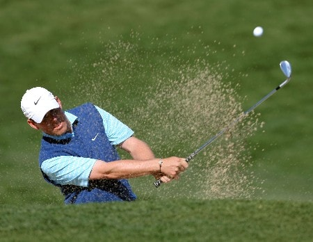 PALM DESERT, CA - JANUARY 20:  Justin Leonard hits out of the bunker on the second hole during the fifth round of the 49th Bob Hope Chrysler Classic at the Classic Club Course on January 20, 2008 in Palm Desert, California.  (Photo by Harry How/Getty Images)