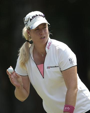 MOBILE, AL - MAY 14:  Brittany Lincicome waves after making her putt on the ninth hole during second round play in the Bell Micro LPGA Classic at the Magnolia Grove Golf Course on May 14, 2010 in Mobile, Alabama.  (Photo by Dave Martin/Getty Images)