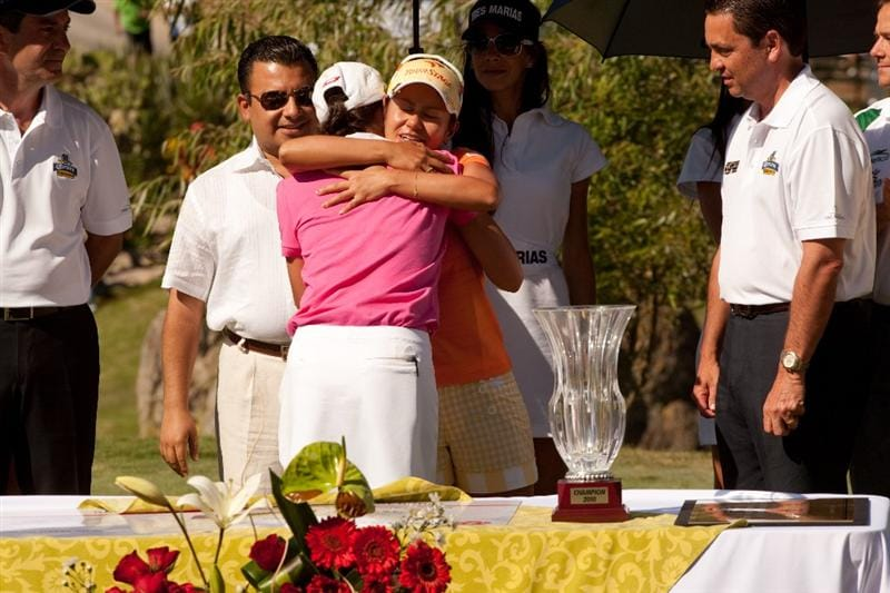 MORELIA, MEXICO - MAY 2: Ai Miyazato of Japan embraces  Lorena Ochoa of Mexico after the fourth round of the Tres Marias Championship at the Tres Marias Country Club on May 2, 2010 in Morelia, Mexico. (Photo by Darren Carroll/Getty Images)