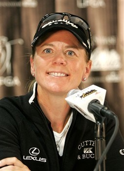 CLIFTON, NJ - MAY 13:  Annika Sorenstam addresses the media at a press conference where she announced her retirement from competitive golf at the end of 2008 at the Upper Montclair Country Club on May 13, 2008 in Clifton, New Jersey.  (Photo by Andy Marlin/Getty Images)
