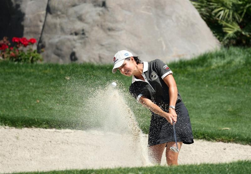 RANCHO MIRAGE, CA - APRIL 03: Lorena Ochoa of Mexico plays her third shot at the 5th hole during the second round of the 2009 Kraft Nabisco Championship, at the Mission Hills Country Club on April 3, 2009 in Rancho Mirage, California  (Photo by David Cannon/Getty Images)