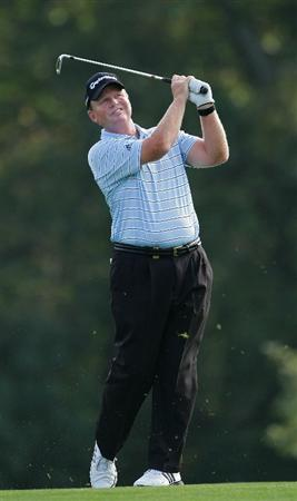 TIMONIUM, MD - OCTOBER 09:  Lonnie Nielsen plays a shot from the fairway during the first round of the Constellation Energy Senior Players Championship at Baltimore Country Club East Course held on October 9, 2008 in Timonium, Maryland  (Photo by Michael Cohen/Getty Images)