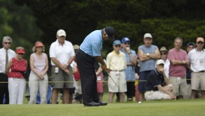 Lee Trevino during the first round of the Commerce Bank Championship on the Red Course at Eisenhower Park in East Meadow, New York, on June 23, 2006.Photo by Steve Levin/WireImage.com