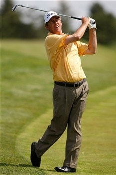 GLENVIEW, IL - MAY 31: Jim Rutledge follows through on his swing after hitting off the fairway on the 18th hole during Round Three of the Bank of America Open at The Glen Club on May 31, 2008 in Glenview, Illinois. (Photo by Scott Boehm/Getty Images)