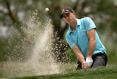 SAN DIEGO - JUNE 15:  Geoff Ogilvy of Australia plays a bunker shot on the sixth hole during the final round of the 108th U.S. Open at the Torrey Pines Golf Course (South Course) on June 15, 2008 in San Diego, California.  (Photo by Jeff Gross/Getty Images)