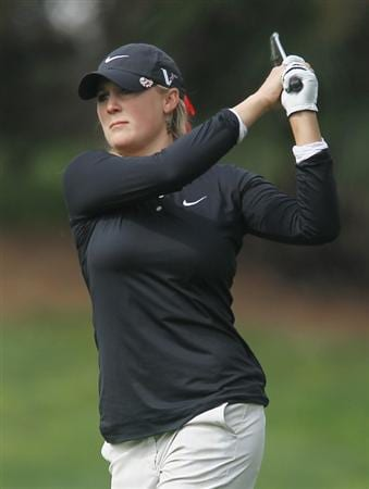 CITY OF INDUSTRY, CA - MARCH 24:  Amanda Blumenherst watches her approach shot on the 12th hole during the first round of the Kia Classic on March 24, 2011 at the Industry Hills Golf Club in the City of Industry, California.  (Photo by Scott Halleran/Getty Images)