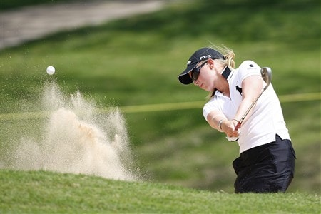BROKEN ARROW, OK - MAY 01: Morgan Pressel hits out of a bunker on the 17th hole during the first round of the SemGroup Championship presented by John Q. Hammons on May 1, 2008 at Cedar Ridge Country Club in Broken Arrow, Oklahoma. (Photo by G. Newman Lowrance/Getty Images)