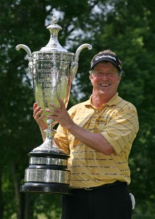 BEACHWOOD, OH - MAY 24 : Michael Allen holds the Alfred S. Bourne trophy after winning the 70th Senior PGA Championship at Canterbury Golf Club on May 24, 2009 in Beachwood, Ohio. (Photo by Hunter Martin/Getty Images)