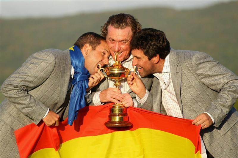 NEWPORT, WALES - OCTOBER 04:  (L-R) European Team members Sergio Garcia, Miguel Angel Jimenez and Jose Maria Olazabal pose with the Ryder Cup following Europe's 14.5 to 13.5 victory over the USA at the 2010 Ryder Cup at the Celtic Manor Resort on October 4, 2010 in Newport, Wales.  (Photo by Andy Lyons/Getty Images)