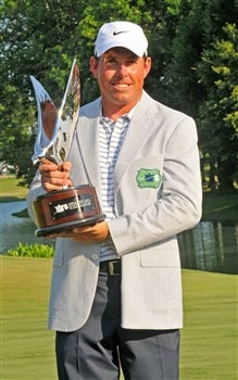MEMPHIS, TN - JUNE 08:  Justin Leonard with the winners trophy  during the fourth and final round of the Standford St. Jude Championship at the TPC Southwind on Sunday, June 8, 2008 in Memphis, Tennessee  (Photo by Marc Feldman/Getty Images)
