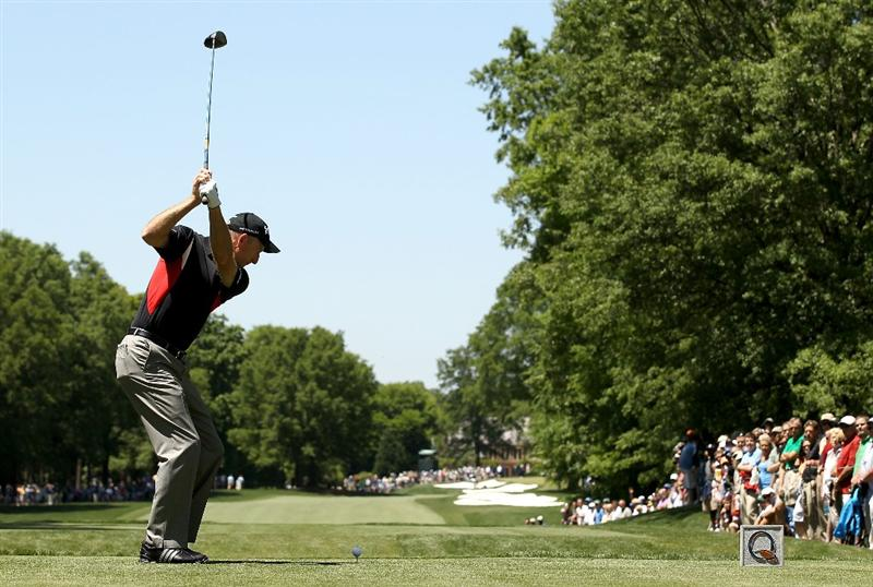 CHARLOTTE, NC - APRIL 29:  Jim Furyk hits his tee shot on the 3rd hole during the first round of the Quail Hollow Championship at Quail Hollow Country Club on April 29, 2010 in Charlotte, North Carolina.  (Photo by Streeter Lecka/Getty Images)