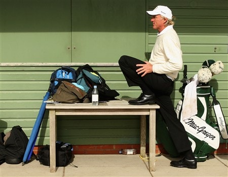 SOUTHPORT, UNITED KINGDOM - JULY 19:  Greg Norman of Australia waits on the tenth hole during the third round of the 137th Open Championship on July 19, 2008 at Royal Birkdale Golf Club, Southport, England.  (Photo by Warren Little/Getty Images)