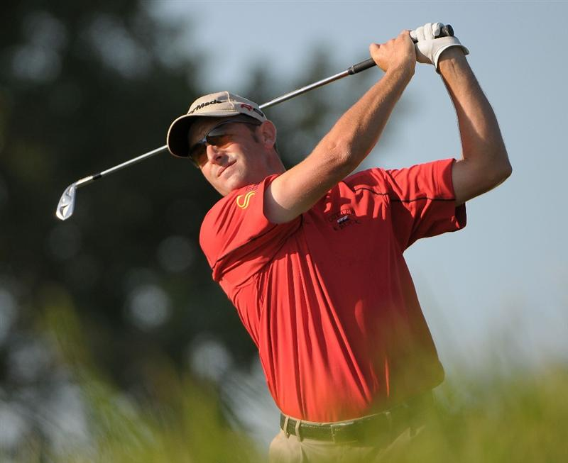 OMAHA, NE - JULY 23:  Geoffrey Sisk tees off the 12t hole during the first round of the Cox Classic held at Champions Run on July 23, 2009 in Omaha, Nebraska. (Photo by Marc Feldman/Getty Images)