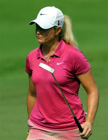 KUALA LUMPUR, MALAYSIA - OCTOBER 23: Suzann Pettersen of Norway walks to the 2nd hole during Round Two of the Sime Darby LPGA on October 23, 2010 at the Kuala Lumpur Golf and Country Club in Kuala Lumpur, Malaysia. (Photo by Stanley Chou/Getty Images)