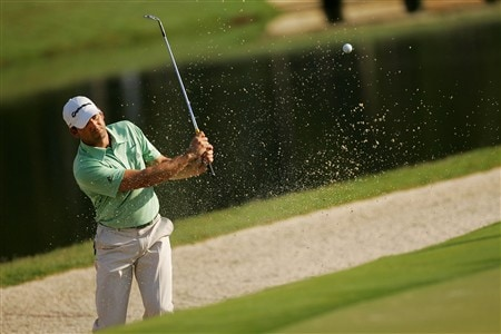 PONTE VEDRA BEACH, FL - MAY 07:  Sergio Garcia of Spain plays a bunker shot during practice for the THE PLAYERS Championship on THE PLAYERS Stadium Course at TPC Sawgrass on May 7, 2008 in Ponte Vedra Beach, Florida.  (Photo by Sam Greenwood/Getty Images)