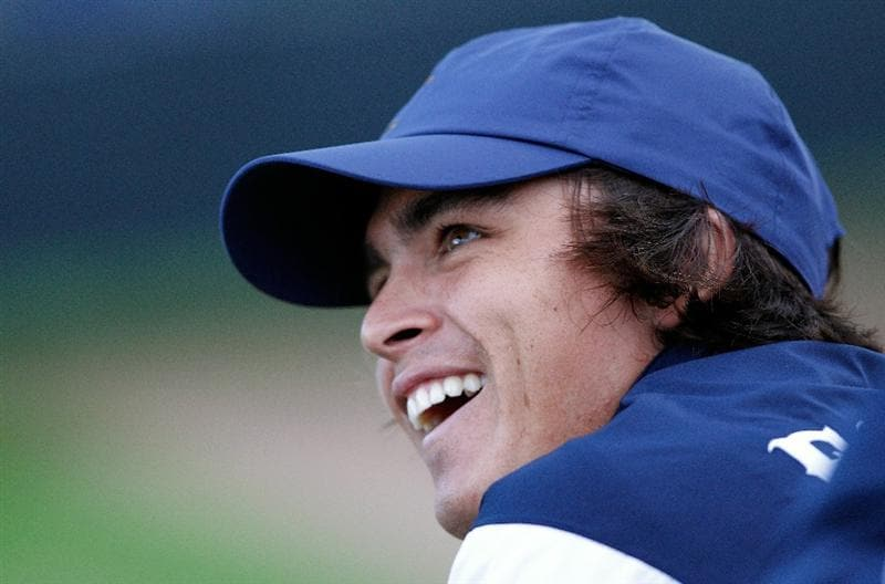 NEWPORT, WALES - OCTOBER 01:  Rickie Fowler of the USA laughs during the Morning Fourball Matches during the 2010 Ryder Cup at the Celtic Manor Resort on October 1, 2010 in Newport, Wales. (Photo by Sam Greenwood/Getty Images)