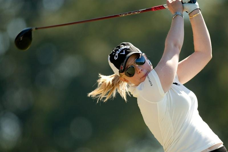 PRATTVILLE, AL - OCTOBER 7: Morgan Pressel follows through on a tee shot during the first round of the Navistar LPGA Classic at the Senator Course at the Robert Trent Jones Golf Trail at Capitol Hill on October 7, 2010 in Prattville, Alabama. (Photo by Darren Carroll/Getty Images)