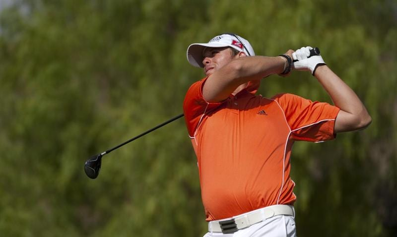 SAN JACINTO, CA - OCTOBER 04: J.J. Killeen makes a tee shot during the final round of the 2009 Soboba Classic at The Country Club at Soboba Springs on October 4, 2009 in San Jacinto, California.  (Photo by Robert Laberge/Getty Images)