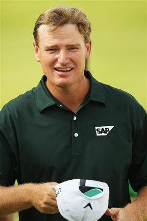 VIRGINIA WATER, ENGLAND - MAY 21:  Ernie Els of South Africa acknowledges the crowd around the 18th hole during the second round of the BMW PGA Championship on the West Course at Wentworth on May 21, 2010 in Virginia Water, England.  (Photo by Warren Little/Getty Images)