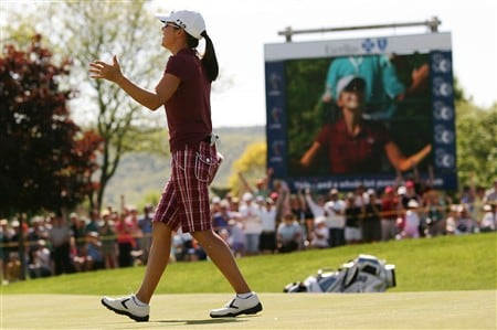 CORNING, NY - MAY 25:   Leta Lindley reacts after making birdie on the first playoff hole during the final round of the LPGA Corning Classic at Corning Country Club on May 25, 2008 in Corning, New York.  (Photo by Kyle Auclair/Getty Images)