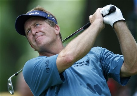 GRAND BLANC, MI - JUNE 26:  Fred Funk  watches his tee shot on the 17th hole during the first round of the Buick Open at Warwick Hills Golf and Country Club on June 26, 2008 in Grand Blanc, Michigan.  (Photo by Gregory Shamus/Getty Images)