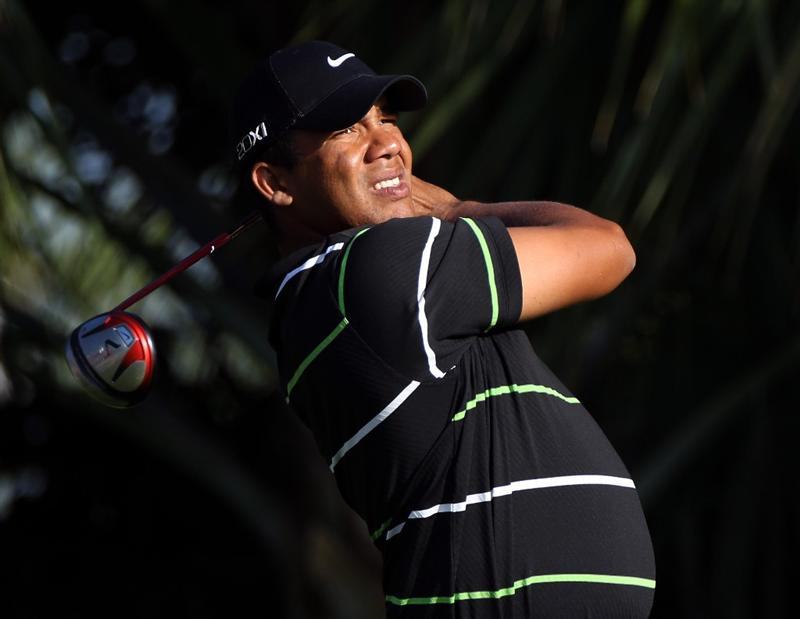 PALM BEACH GARDENS, FL - MARCH 03:  Jhonattan Vegas of Venezuela plays a shot on the 3rd hole during the first round of The Honda Classic at PGA National Resort and Spa on March 3, 2011 in Palm Beach Gardens, Florida.  (Photo by Sam Greenwood/Getty Images)
