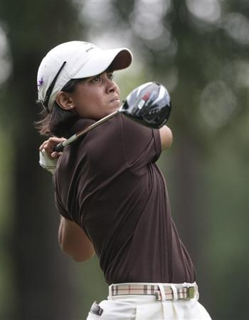 MOBILE, AL - MAY 13: Julieta Granada of Paraguay watches her drive from the 11th tee during first round play in Bell Micro LPGA Classic at the Magnolia Grove Golf Course on May 13, 2010 in Mobile, Alabama.  (Photo by Dave Martin/Getty Images)