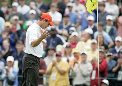 Arron Oberholser reacts after making an eagle on the third hole during the third round of the 2007 Wachovia Championship held at Quail Hollow Country Club in Charlotte, North Carolina on May 5, 2007. PGA TOUR - 2007 Wachovia Championship - Third RoundPhoto by Richard Schultz/WireImage.com