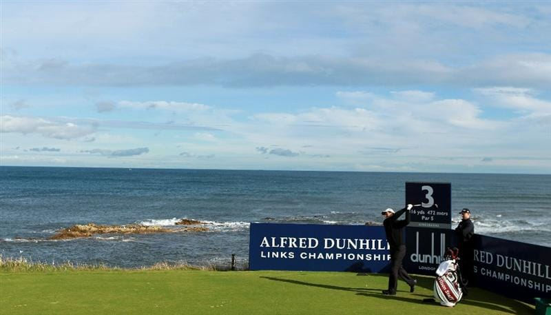KINGSBARNS, SCOTLAND - OCTOBER 06:  Padraig Harrington of Ireland plays of the third tee during the practice round of The Alfred Dunhill Links Championship at Kingsbarns Golf Links on October 6, 2010 in St Andrews, Scotland.  (Photo by Warren Little/Getty Images)
