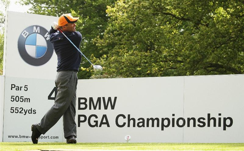 WENTWORTH, ENGLAND - MAY 19:  Thomas Levet of France tees off on the fourth hole during the Previews of the BMW PGA Championship at Wentworth on May 19, 2009 in Virginia Water, England.  (Photo by Warren Little/Getty Images)