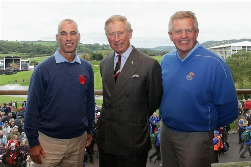 NEWPORT, WALES - SEPTEMBER 29:  (L-R) USA Team Captain Corey Pavin, Prince Charles, The Prince of Wales and Europe team captain Colin Montgomerie prior to the 2010 Ryder Cup at the Celtic Manor Resort on September 29, 2010 in Newport, Wales. (Photo by Andrew Redington/Getty Images)