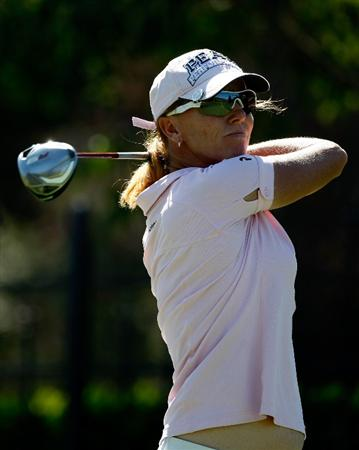 DANVILLE, CA - SEPTEMBER 24:  Helen Alfredsson of Sweden tees off on the 9th hole during the first round of the CVS/pharmacy LPGA Challenge at Blackhawk Country Club on September 24, 2009 in Danville, California.  (Photo by Jonathan Ferrey/Getty Images)