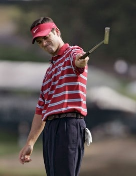 Franklin Langham reacts to a missed putt on the 11th hole  during the second round of the Buick Championship at the Tournament Players Club at River Highlands in Cromwell, Connecticut on August 26, 2005.Photo by Michael Cohen/WireImage.com