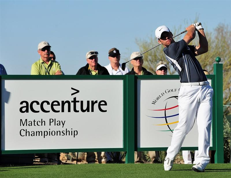 MARANA, AZ - MARCH 1:  Paul Casey of England plays hits tee shot on the eighth hole during the final round of Accenture Match Play Championships at The Ritz-Carlton Golf Club at Dove Mountain March 1, 2009 in Marana, Arizona.  (Photo by Stuart Franklin/Getty Images)