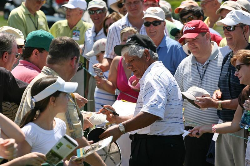 SAVANNAH, GA - APRIL 25:  Lee Trevino signs autographs after finishing his round during the second round of the Liberty Mutual Legends of Golf at the Westin Savannah Harbor Golf Resort and Spa on April 25, 2009 in Savannah, Georgia. (Photo by Hunter Martin/Getty Images)