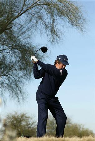 SCOTTSDALE, AZ - FEBRUARY 06:  Jason Dufner hits a tee shot on the 13th hole during the third round of the Waste Management Phoenix Open at TPC Scottsdale on February 6, 2011 in Scottsdale, Arizona.  (Photo by Christian Petersen/Getty Images)