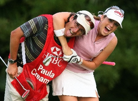 SINGAPORE - FEBRUARY 27:  Paula Creamer of the USA clowns around with her caddie Colin Cann during the pro-am prior to the start of the HSBC Women's Champions at Tanah Merah Country Club on February 27, 2008 in Singapore.  (Photo by Scott Halleran/Getty Images)