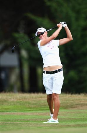 CHRISTCHURCH, NEW ZEALAND - JANUARY 31:  Lee-Anne Pace of South Africa plays a fairway shot on the 10th hole during day two of the New Zealand Women`s Open held at Clearwater Golf Course January 31, 2009 in Christchurch, New Zealand.  (Photo by Sandra Mu/Getty Images)